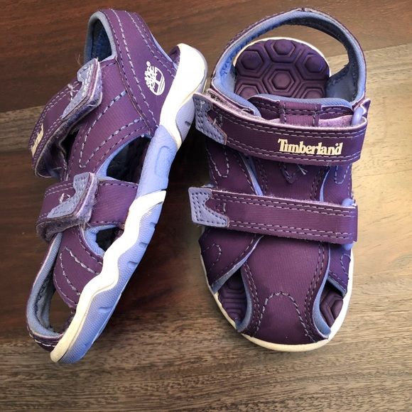 Timberland toddler Girls size 7 purple Velcro